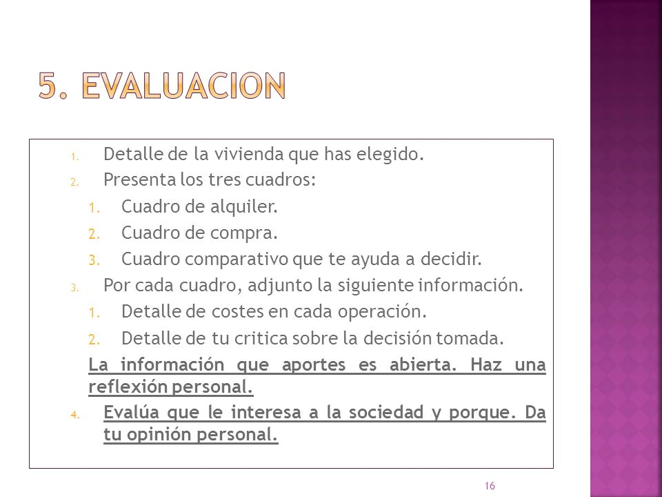 5. EVALUACION Detalle de la vivienda que has elegido.