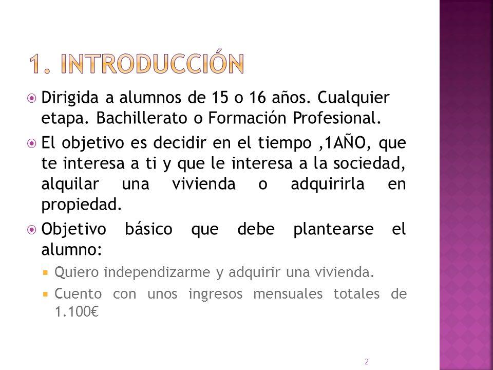 1. Introducción Dirigida a alumnos de 15 o 16 años. Cualquier etapa. Bachillerato o Formación Profesional.