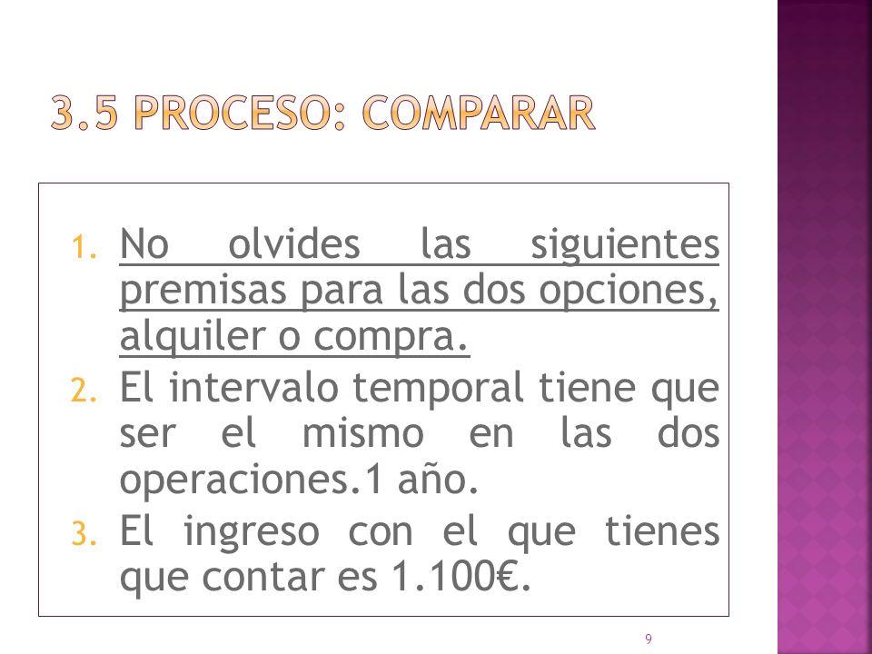 3.5 proceso: COMPARAR No olvides las siguientes premisas para las dos opciones, alquiler o compra.