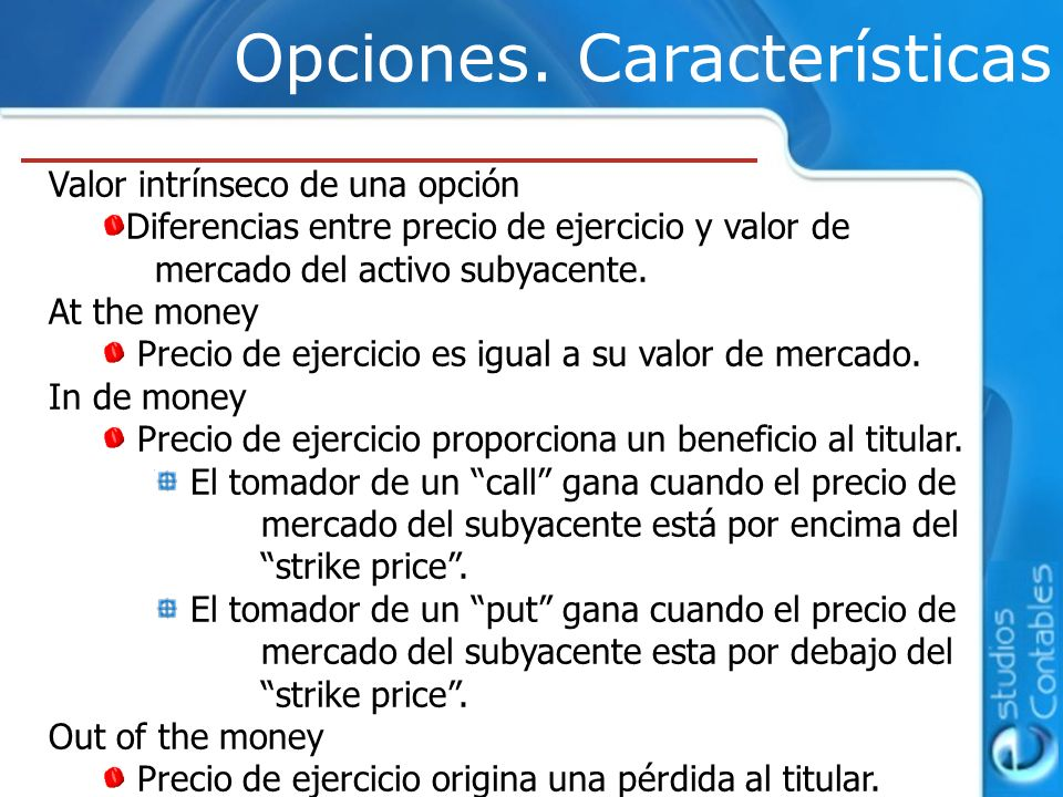 Opciones. Características