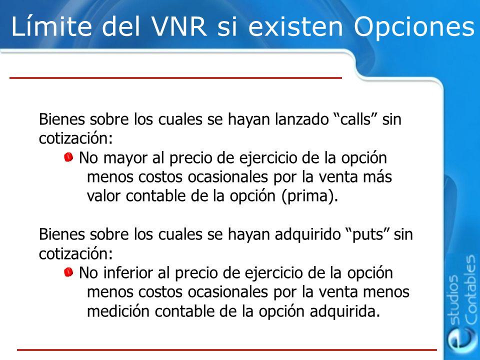 Límite del VNR si existen Opciones