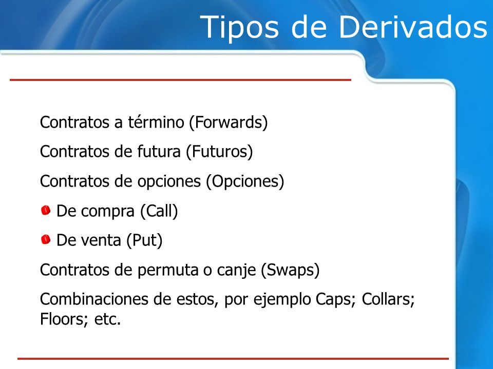 Tipos de Derivados Contratos a término (Forwards)