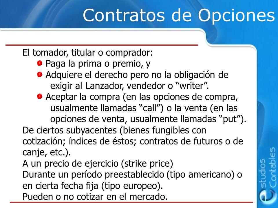 Contratos de Opciones El tomador, titular o comprador: