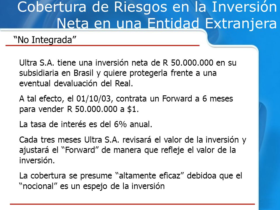 Cobertura de Riesgos en la Inversión Neta en una Entidad Extranjera