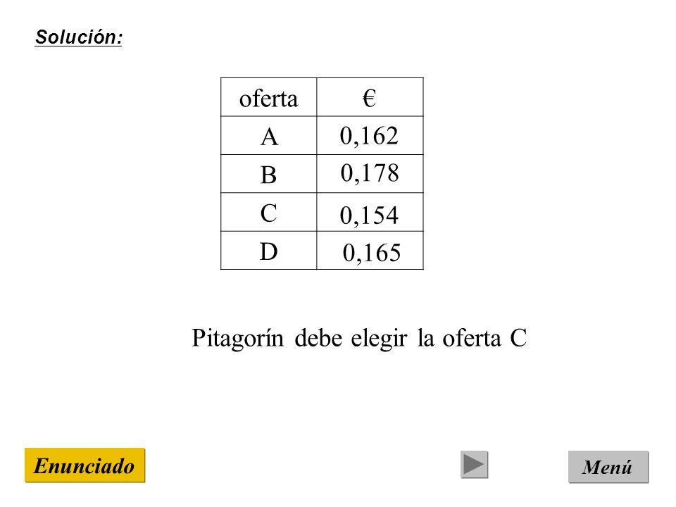 Pitagorín debe elegir la oferta C