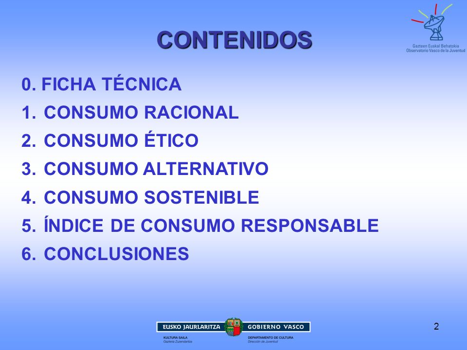 CONTENIDOS 0. FICHA TÉCNICA CONSUMO RACIONAL CONSUMO ÉTICO