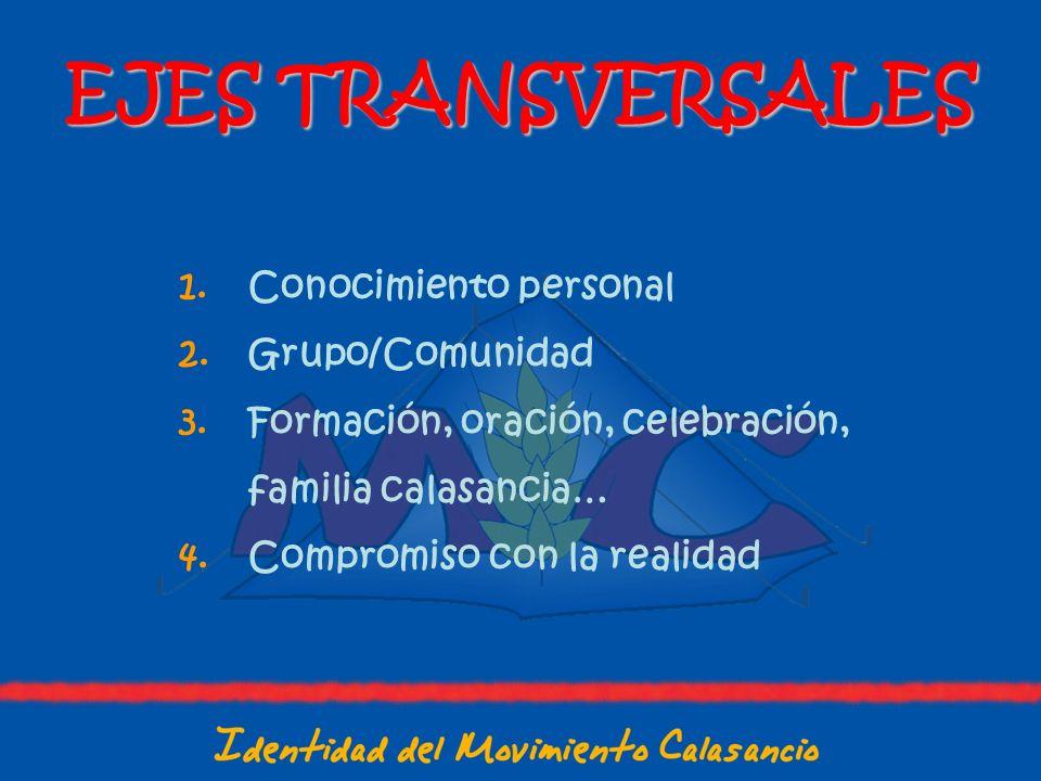 EJES TRANSVERSALES Conocimiento personal Grupo/Comunidad