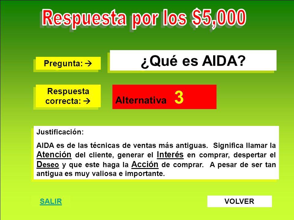 Respuesta por los $5,000 ¿Qué es AIDA Alternativa 3 Pregunta: 