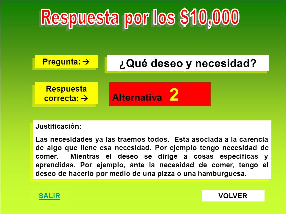 Respuesta por los $10,000 ¿Qué deseo y necesidad Alternativa 2