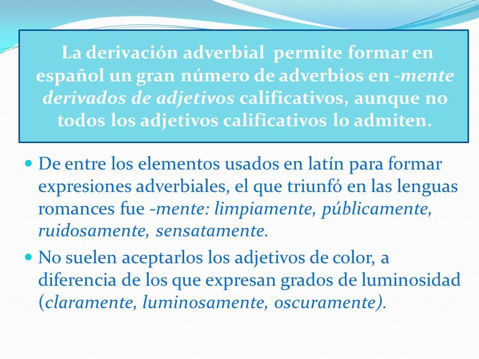 La derivación adverbial permite formar en español un gran número de adverbios en -mente derivados de adjetivos calificativos, aunque no todos los adjetivos calificativos lo admiten.