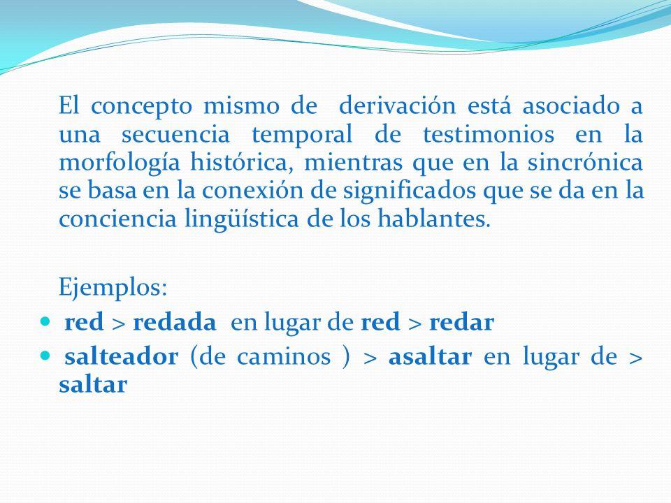 El concepto mismo de derivación está asociado a una secuencia temporal de testimonios en la morfología histórica, mientras que en la sincrónica se basa en la conexión de significados que se da en la conciencia lingüística de los hablantes.