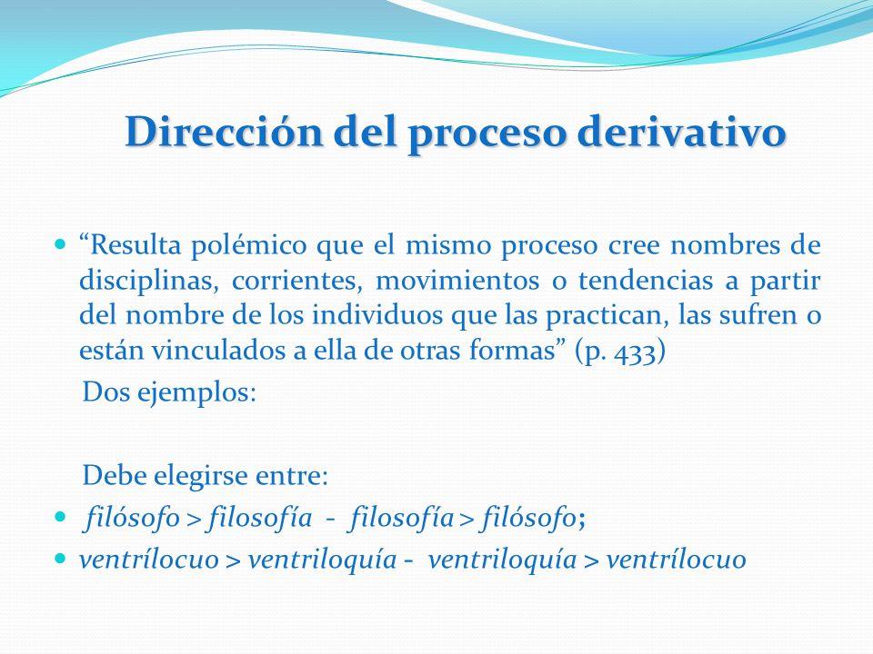 Dirección del proceso derivativo