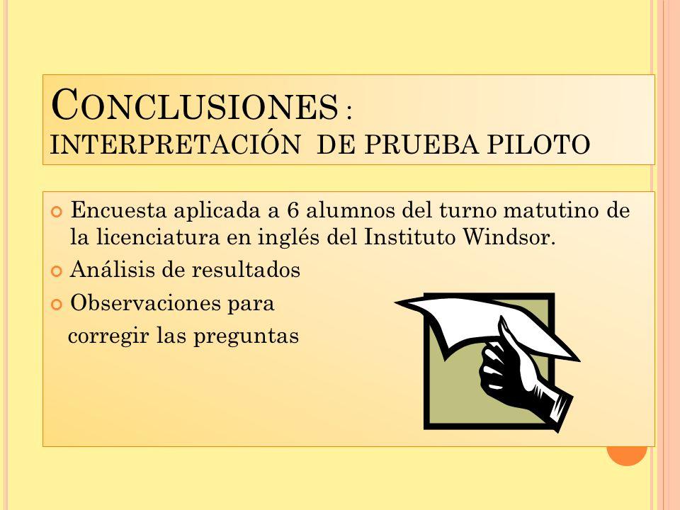 Conclusiones : INTERPRETACIÓN DE PRUEBA PILOTO