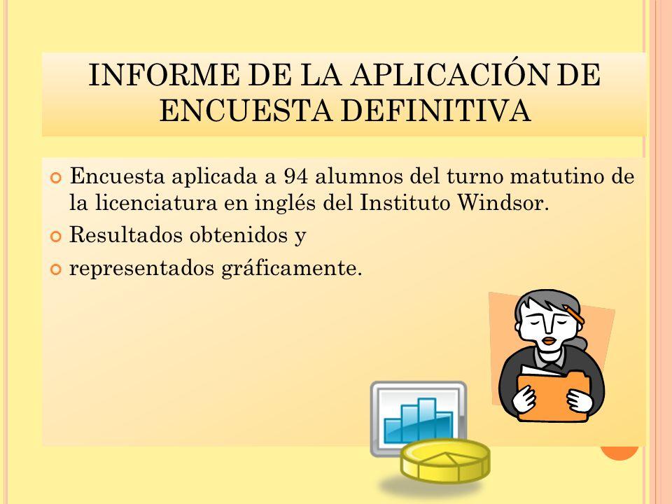 INFORME DE LA APLICACIÓN DE ENCUESTA DEFINITIVA