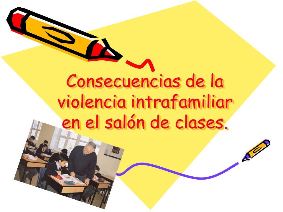 Consecuencias de la violencia intrafamiliar en el salón de clases.