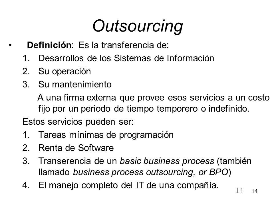 Outsourcing Definición: Es la transferencia de: