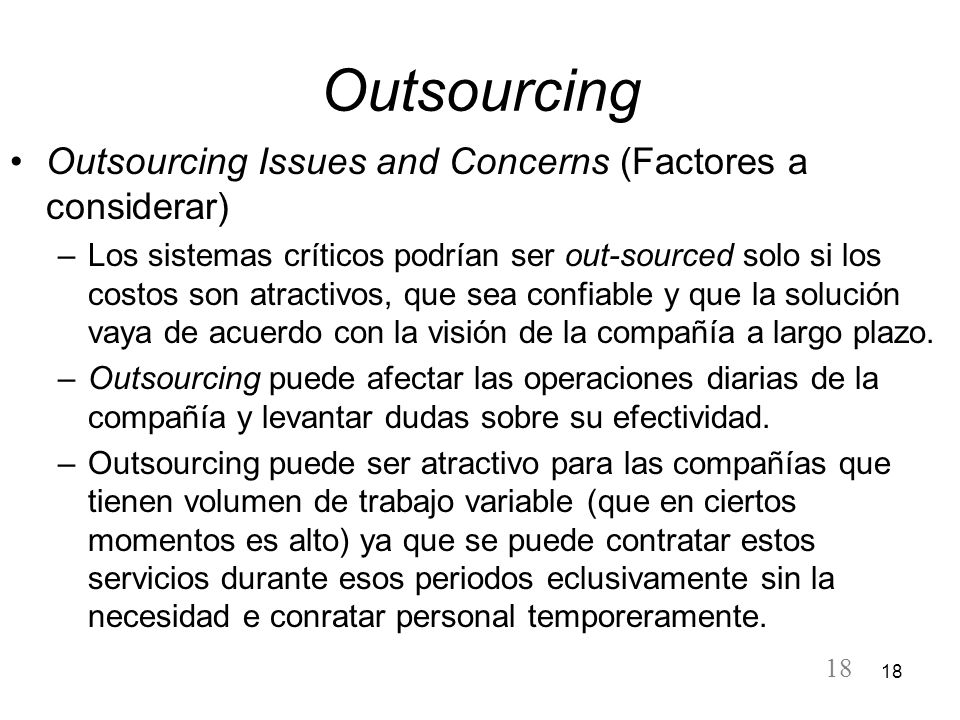 Outsourcing Outsourcing Issues and Concerns (Factores a considerar)