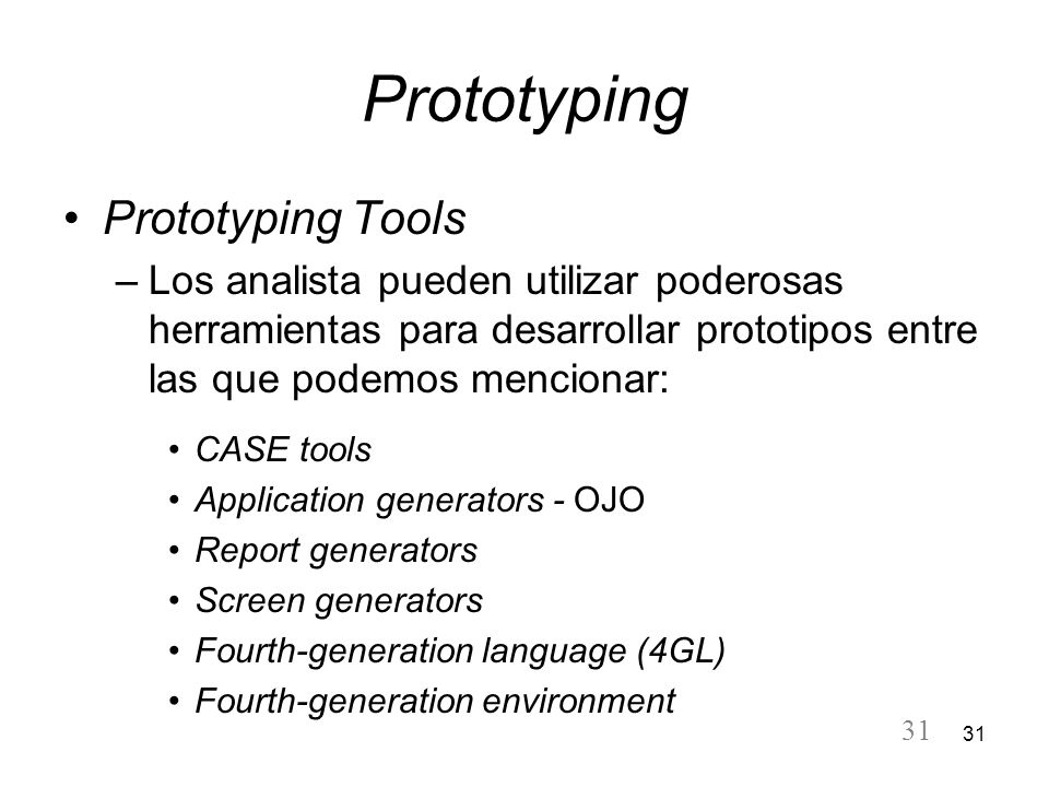 Prototyping Prototyping Tools