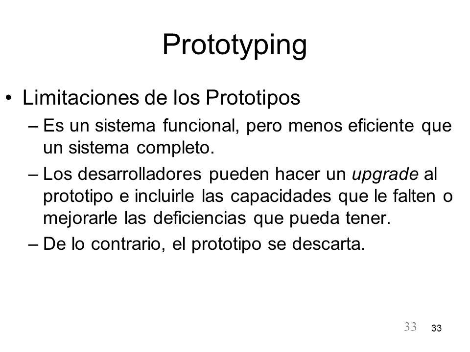 Prototyping Limitaciones de los Prototipos