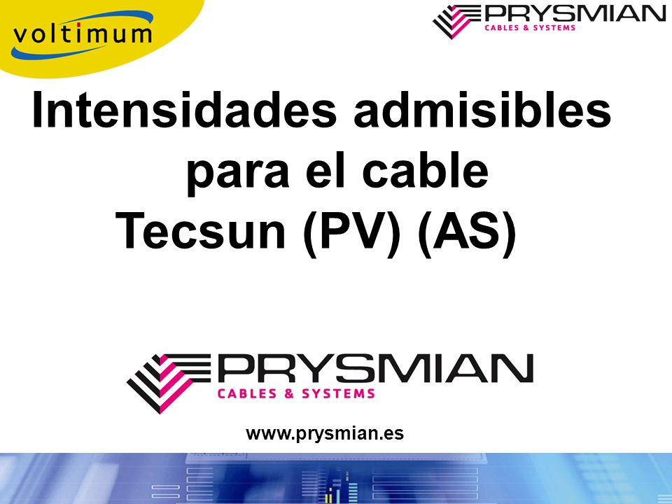 Intensidades admisibles para el cable Tecsun (PV) (AS)