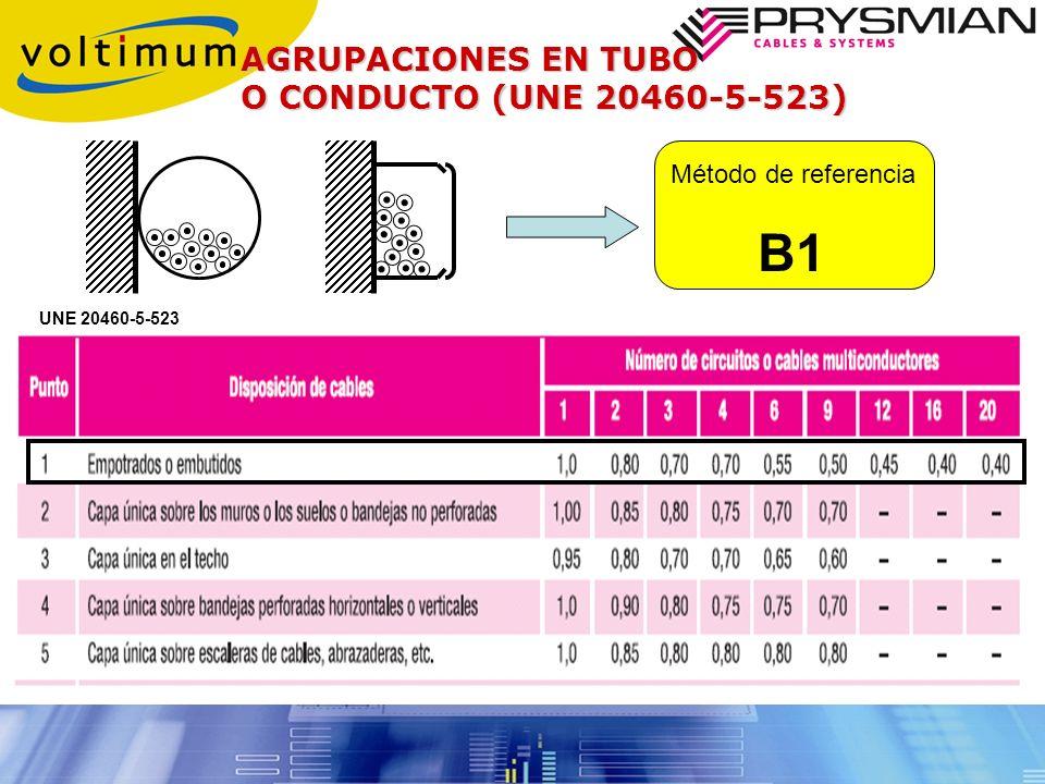 B1 AGRUPACIONES EN TUBO O CONDUCTO (UNE 20460-5-523)