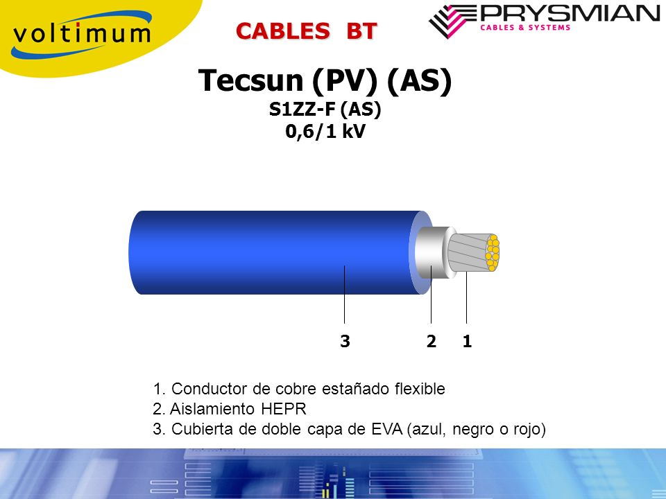 Tecsun (PV) (AS) CABLES BT S1ZZ-F (AS) 0,6/1 kV 3 2 1