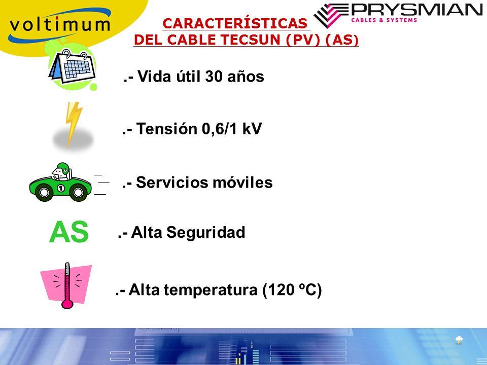 AS .- Vida útil 30 años .- Tensión 0,6/1 kV .- Servicios móviles