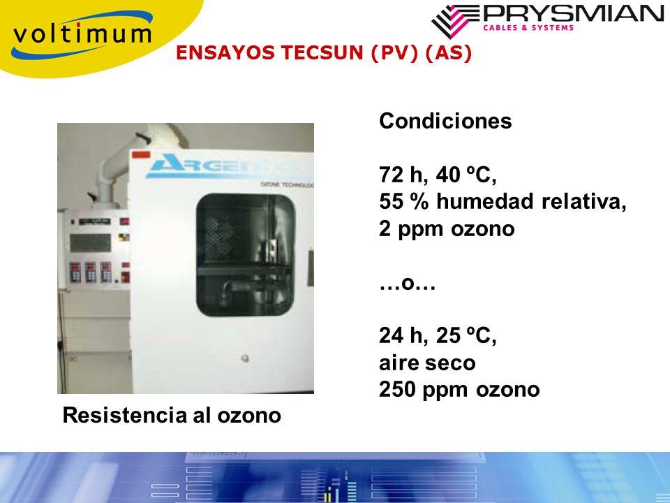 Condiciones 72 h, 40 ºC, 55 % humedad relativa, 2 ppm ozono …o…