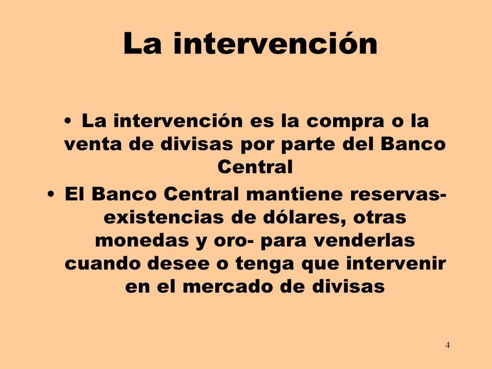 La intervención La intervención es la compra o la venta de divisas por parte del Banco Central.
