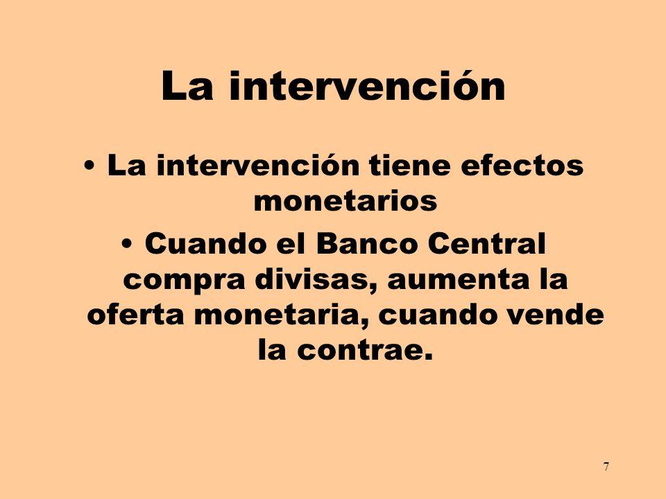 La intervención tiene efectos monetarios
