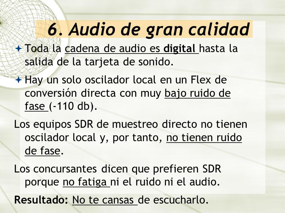 6. Audio de gran calidad Toda la cadena de audio es digital hasta la salida de la tarjeta de sonido.