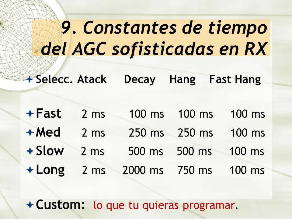 9. Constantes de tiempo del AGC sofisticadas en RX
