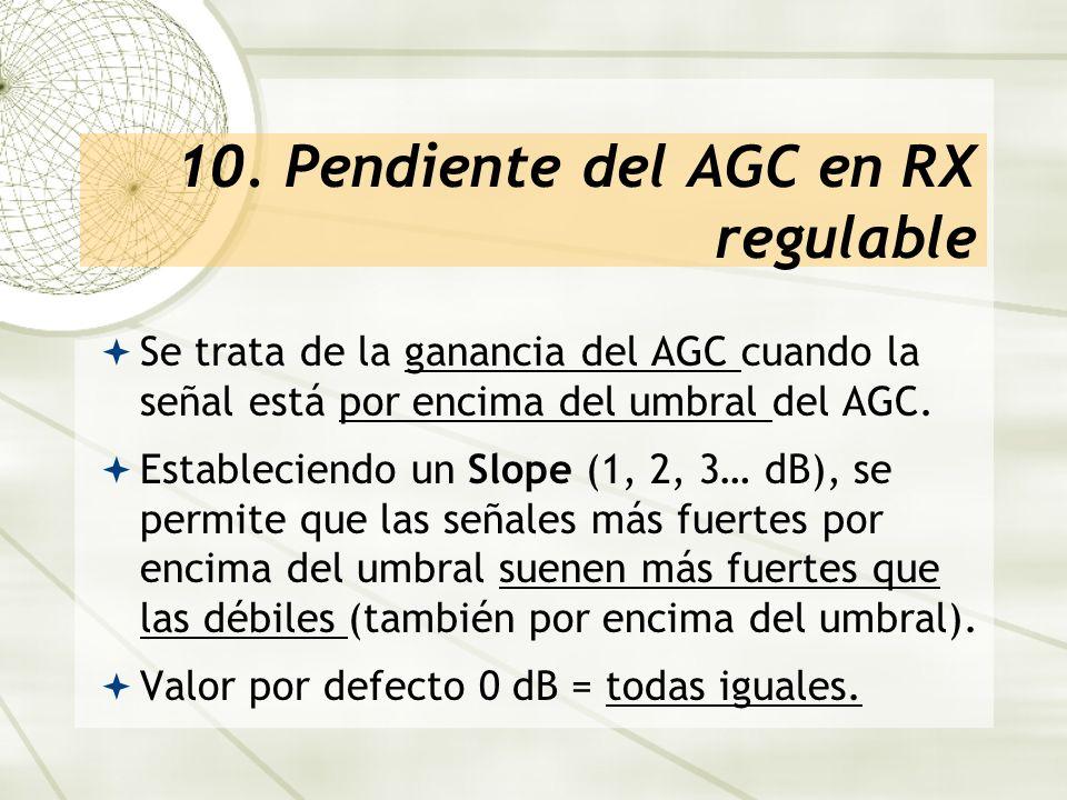 10. Pendiente del AGC en RX regulable