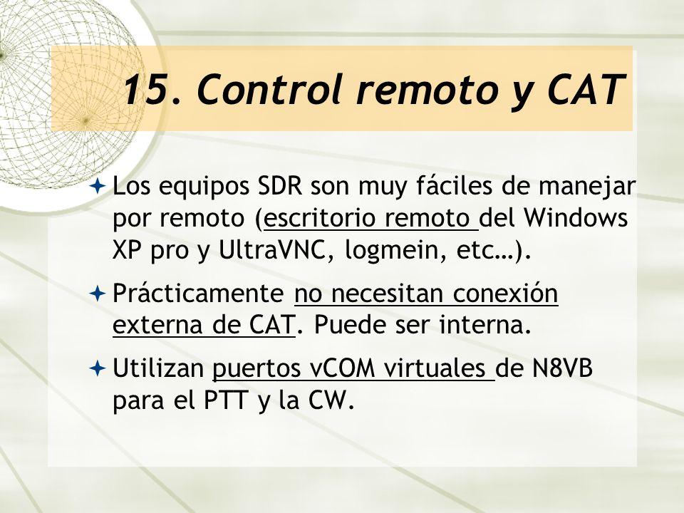 15. Control remoto y CAT Los equipos SDR son muy fáciles de manejar por remoto (escritorio remoto del Windows XP pro y UltraVNC, logmein, etc…).