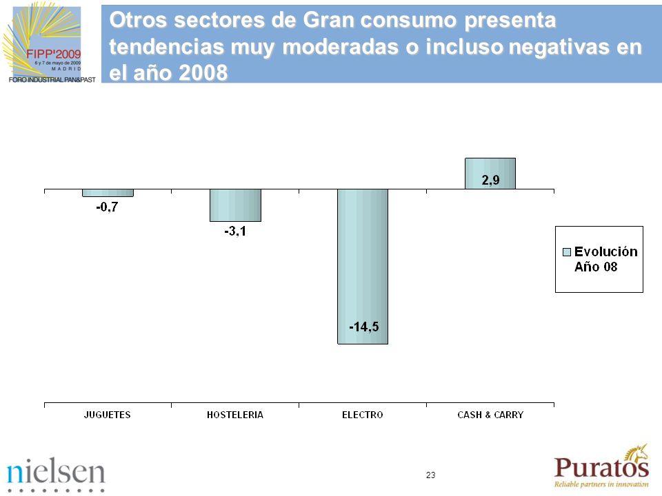 Otros sectores de Gran consumo presenta tendencias muy moderadas o incluso negativas en el año 2008