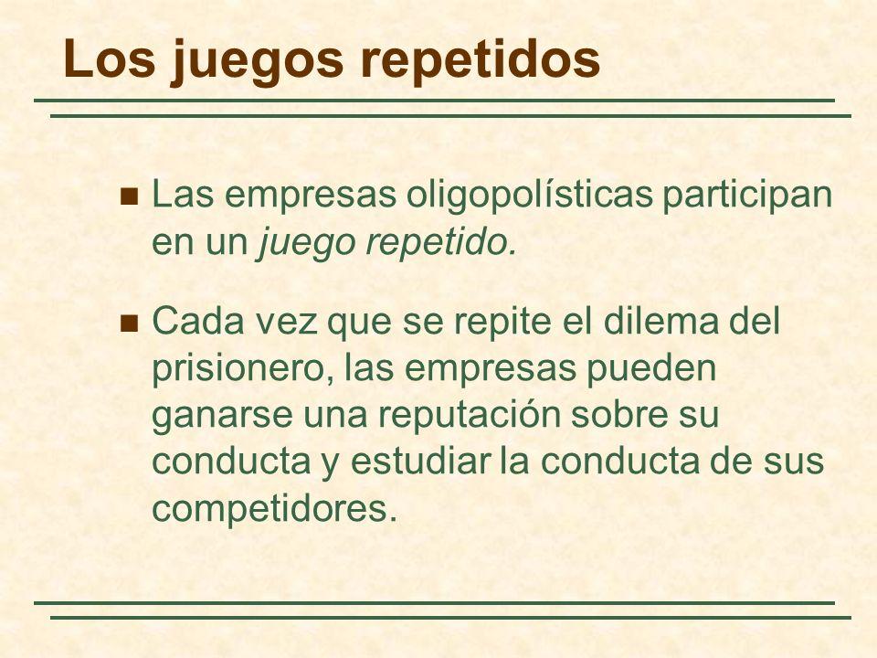 Los juegos repetidos Las empresas oligopolísticas participan en un juego repetido.