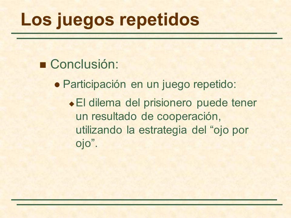 Los juegos repetidos Conclusión: Participación en un juego repetido: