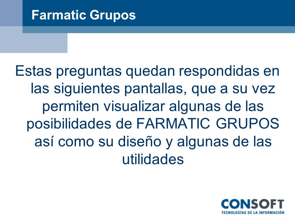 Farmatic Grupos
