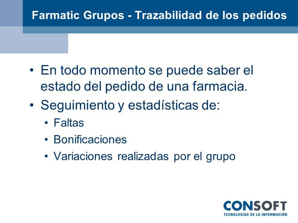 Farmatic Grupos - Trazabilidad de los pedidos