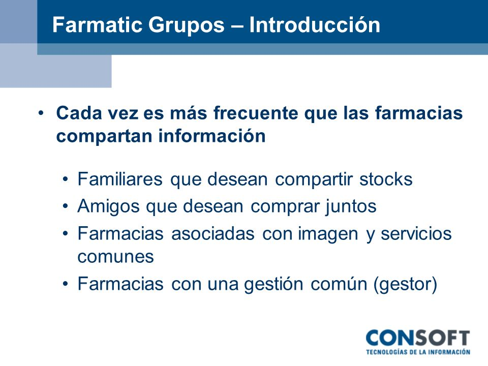 Farmatic Grupos – Introducción