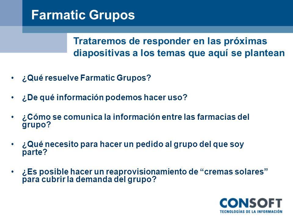 Farmatic Grupos Trataremos de responder en las próximas diapositivas a los temas que aquí se plantean.