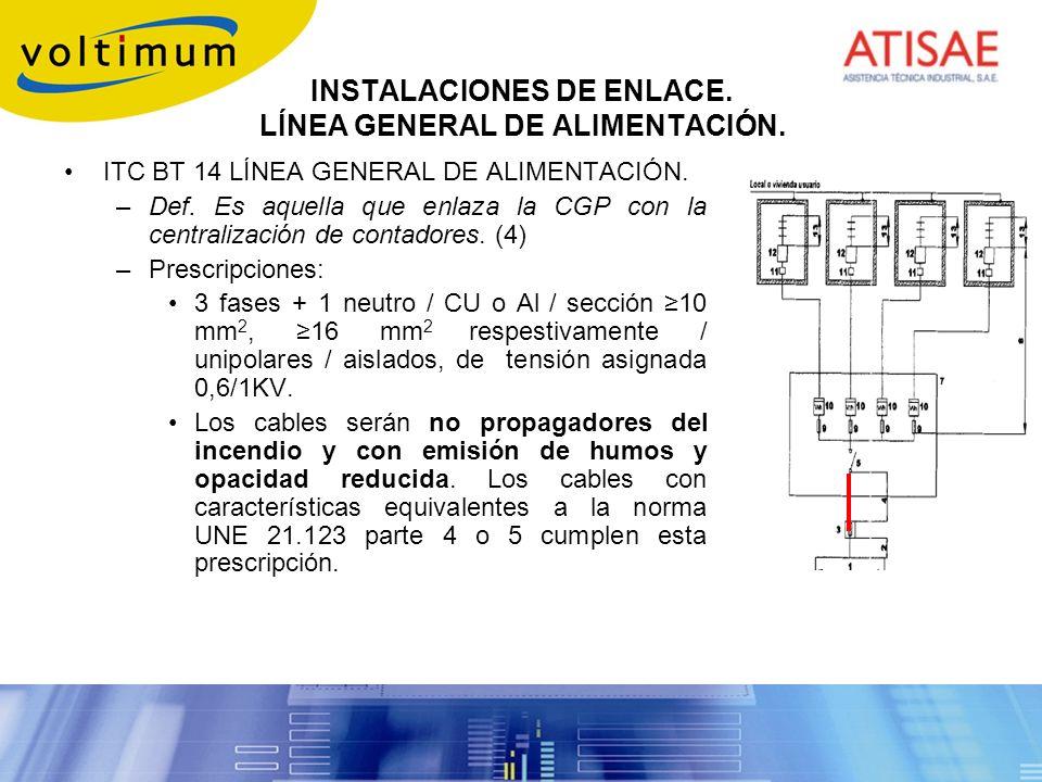 INSTALACIONES DE ENLACE. LÍNEA GENERAL DE ALIMENTACIÓN.