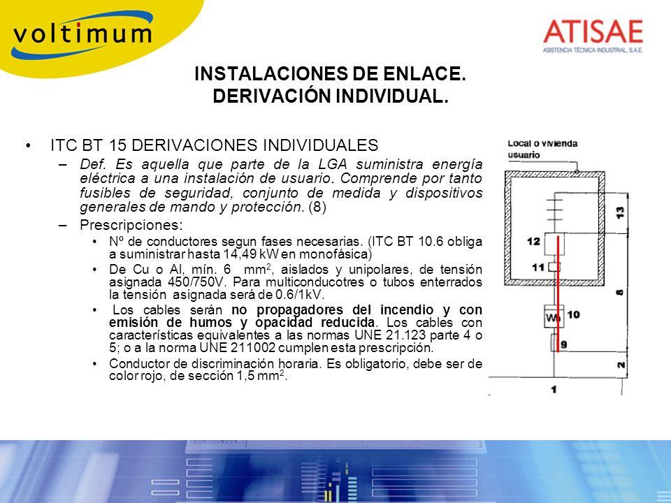 INSTALACIONES DE ENLACE. DERIVACIÓN INDIVIDUAL.