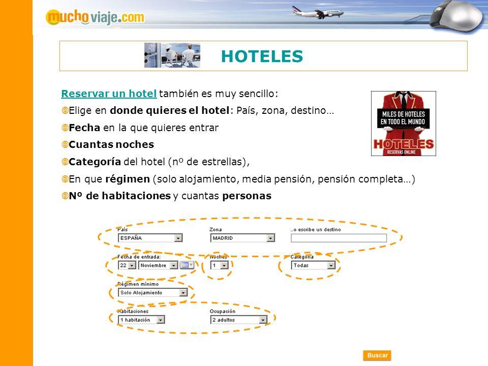 HOTELES Reservar un hotel también es muy sencillo: