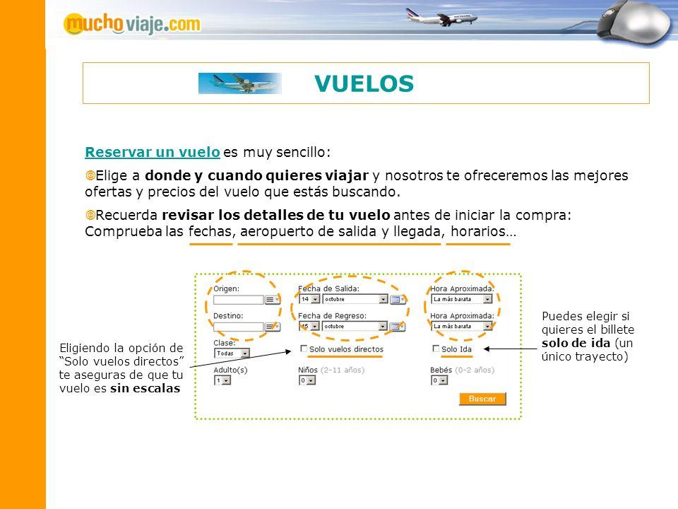 VUELOS Reservar un vuelo es muy sencillo: