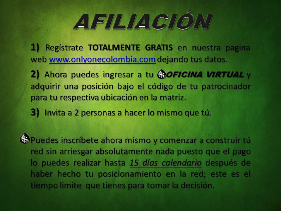 AFILIACIÓN 1) Regístrate TOTALMENTE GRATIS en nuestra pagina web www.onlyonecolombia.com dejando tus datos.