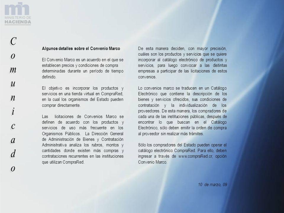 Comunicado Algunos detalles sobre el Convenio Marco