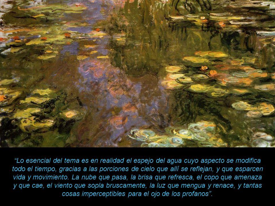 Lo esencial del tema es en realidad el espejo del agua cuyo aspecto se modifica todo el tiempo, gracias a las porciones de cielo que allí se reflejan, y que esparcen vida y movimiento.