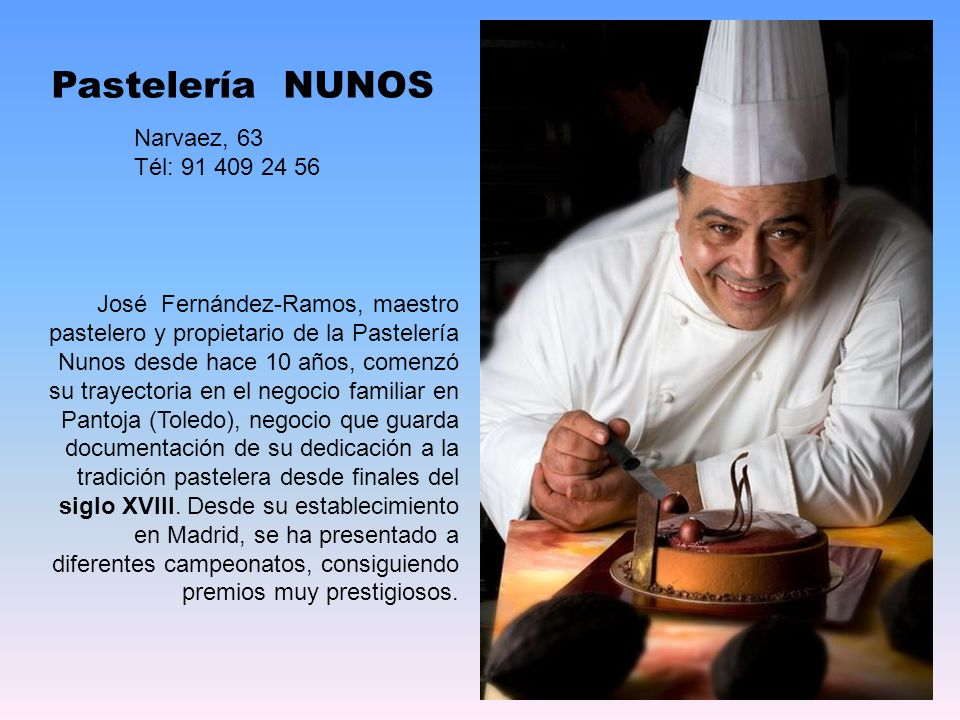 Pastelería NUNOS Narvaez, 63 Tél: 91 409 24 56