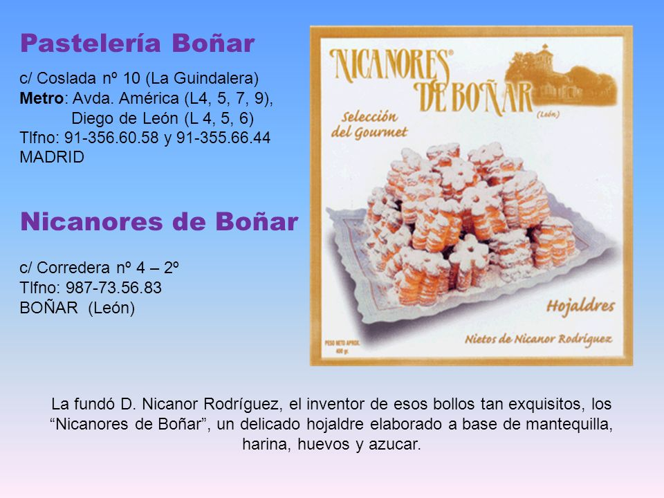 Pastelería Boñar Nicanores de Boñar c/ Coslada nº 10 (La Guindalera)